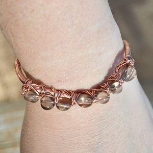 Genuine Smoky Topaz Gemstone Copper cuff Bracelet